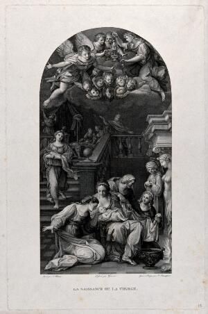 view The birth of the Virgin. Engraving by F. Rosaspina after Gianni after F. Albani.