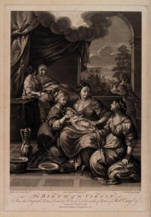 view A midwife wrapping the Virgin Mary in swaddling clothes after receiving her first bath; Anne is recuperating in bed. Engraving by C. Faucci, 1764, after G.B. Cipriani after Pietro da Cortona.