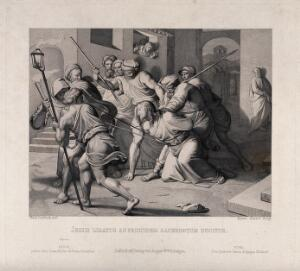 view Christ bound and beaten by Jews. Etching by Heinrich Nüsser after J.F. Overbeck, 1850.