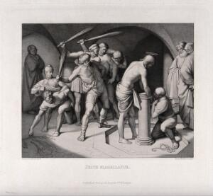 view The flagellation of Christ. Etching by H. Nüsser after J.F. Overbeck, 1843.