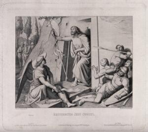 view The resurrected Christ appears before terrified soldiers. Etching by B. Bartoccini after F. Overbeck, 1848.