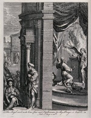 view The angel Gabriel tells Zacharias that his prayer for a child is to be granted; John the Baptist will be his son. Engraving by E. Kirkall after M. Scheits.