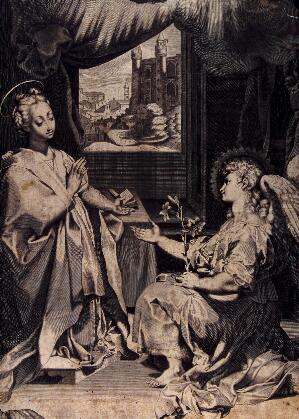 view The Virgin sets aside her Bible as the angel appears, holding out his hand and bearing lilies. Engraving after F. Barocci (?).
