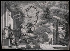 view The Virgin looks up at the announcing angel; cherubs spin in a circle around the Holy Spirit. Engraving after J. Callot (?).