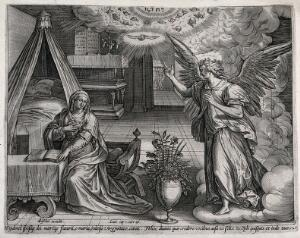 view The Annunciation to the Virgin in her room. Engraving by C.J. Visscher (?).