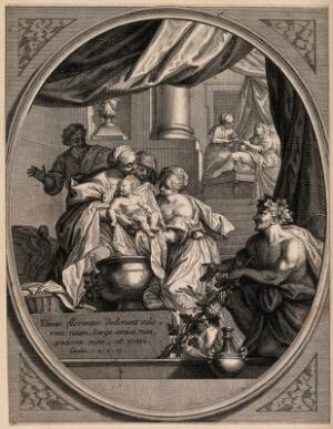 view The newly-born Virgin Mary is washed by maids; Bacchus waits by the bath. Etching by J. Audran.