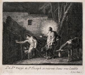 view Joseph and Mary, searching for a place to stay in nocturnal Bethlehem, find a stable. Etching by J. Parrocel.