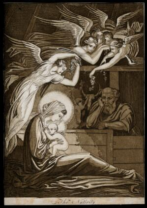 view The birth of Christ; female angels swoon through the air; Joseph looks on. Aquatint by T. Piroli, 1796, after W. Y. Ottley.