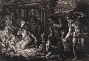 view The nocturnal adoration of the shepherds. Mezzotint by E. Kirkall, 1724, after P. Buonaccorsi.