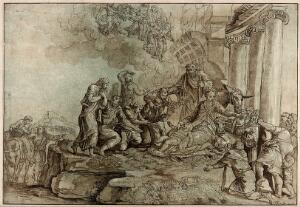 view The adoration of the shepherds at the birth of Christ. Coloured aquatint with etching by J.G. Prestel after G.F.M. Mazzola, il Parmigianino.