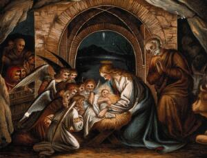 view Angels pray at the birth of Christ. Chromolithograph.
