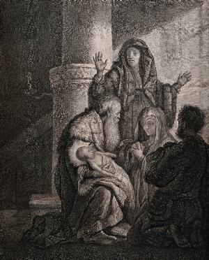 view Simeon recognises the infant Jesus as saviour. Etching by C.W. Weisbrod after Rembrandt, 1627-8.