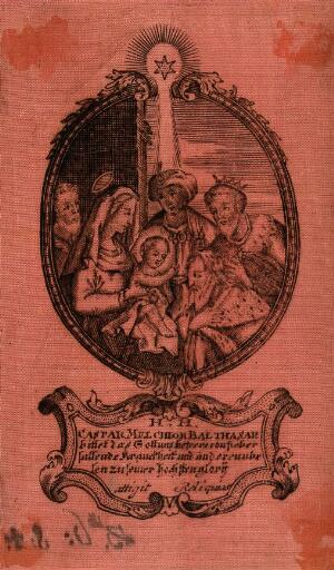 view The adoration of the magi; with inscription of prayer against disease. Engraving on red silk.