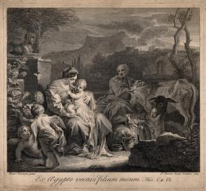 view The holy family resting among animals in Egypt. Etching by B. Baron, 1724, after F. Solimena.