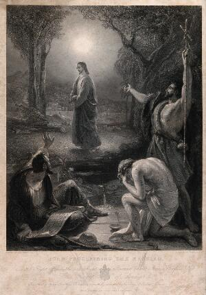 view John the Baptist hails Jesus as the messiah to two of his disciples. Engraving J. Outrim, 1847, after T. Uwins.