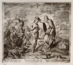 view John baptises Christ; two angels watch. Engraving by T. Crüger, ca. 1617, after A. del Sarto.