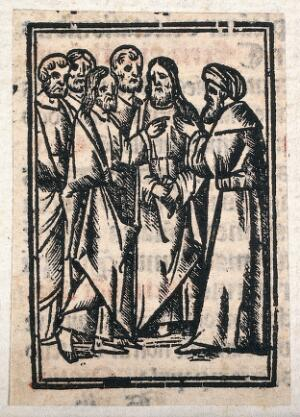 view Jesus and the apostles encounter a man. Woodcut.