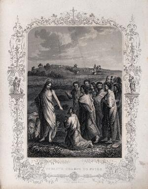 view Jesus appoints Peter as head of the church. Engraving.