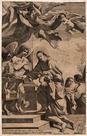 view Jesus appoints Peter as keeper of the keys to heaven; angels stand by. Engraving by G. Pasqualini after G.F. Barbieri, il Guercino.