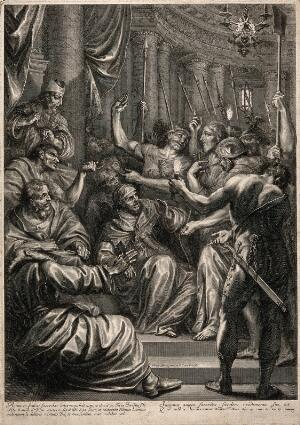 view The high priest questions Jesus after his arrest. Engraving by G. Huret after himself.