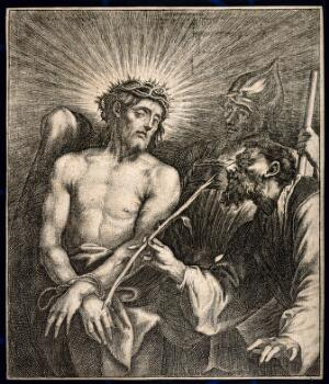 view The mocking of Christ. Etching by A. van Dyck.