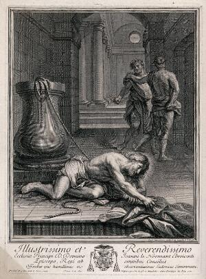 view Christ lies on the ground, beaten and mocked. Etching by L. Simonneau after himself.