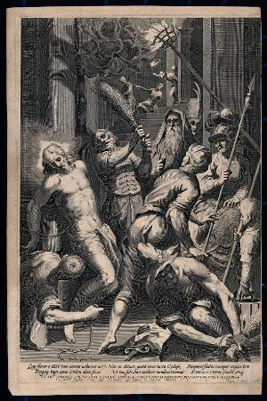 view The mocking and flagellation of Christ. Line engraving by G. Sadeler after J. Palma the elder.
