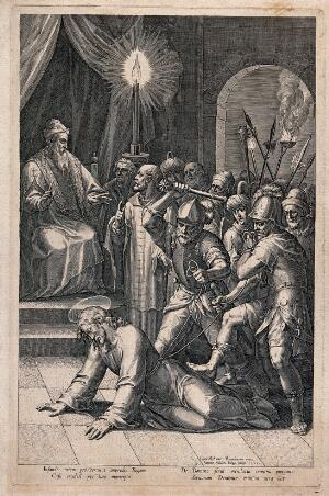 view Roman soldiers beat Christ before the high priest. Line engraving by J. Sadeler, 1589, after C. Schwartz.