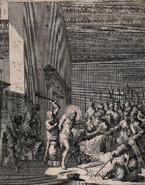 view Christ beaten and mocked before Caiaphas. Etching by J. Callot, 1630.