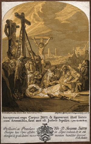 view Lamentation over the dead Christ on the mount of Golgotha. Woodcut by J.B. Jackson, 1738, after Rembrandt.