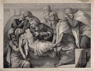 view Christ is laid into a tomb. Lithograph by M. Fanoli after E.R. Wehnert, 1849.