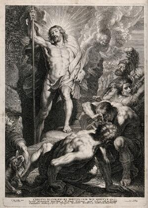 view Christ resurrected emerges from his tomb. Line engraving by S.A. Bolswert after P.P. Rubens.