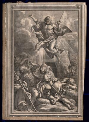 view The resurrected Christ flying above soldiers. Engraving.