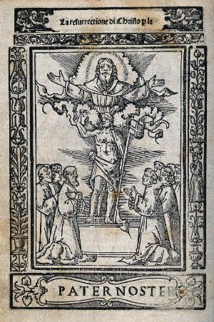 view The resurrected Christ appears with a flag before the apostles; God spreads his hands above. Woodcut.