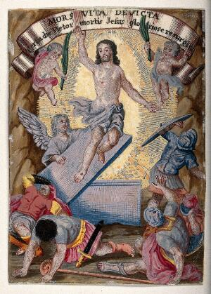 view The resurrected Christ rises over terrified soldiers. Watercolour painting.