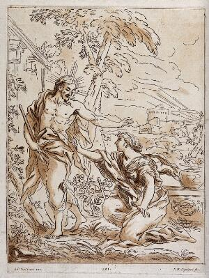 view The risen Christ asks Mary Magdalene not to touch him. Etching with aquatint by G.B. Cipriani after A.D. Gabbiani.