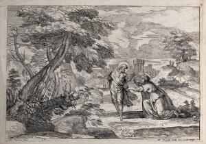 view The risen Christ asks Mary Magdalene not to touch him. Etching by M. Corneille after Annibale Carracci.