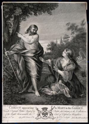 view Saint Mary Magdalene reaches out for the risen Christ; he points away. Engraving by W. Walker, c. 1760, after P. da Cortona.