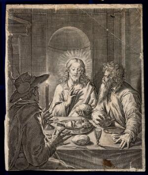 view The risen Christ shares supper with two men at Emmaus. Engraving.