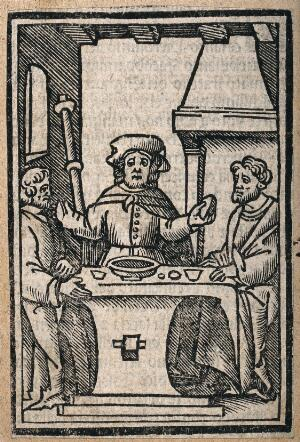 view The risen Christ, dressed as a pilgrim, shares supper with two men at Emmaus. Woodcut.