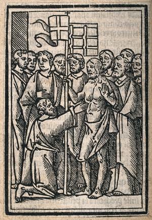 view Christ shows his stigmata to Saint Thomas. Woodcut.