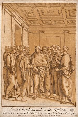view Christ among the apostles. Colour mixed media print by comte A-C-P. de Caylus and N. Le Sueur after R. del Colle.