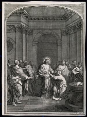 view The risen Christ shows his lance wound to Saint Thomas. Engraving by J. Sturt.