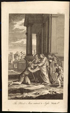 view Christ cures a blind man by laying his hand on his eyes. Etching.