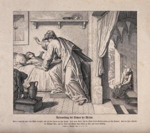 view The widow's son returns to life in response to Elijah's prayer. Wood engraving.