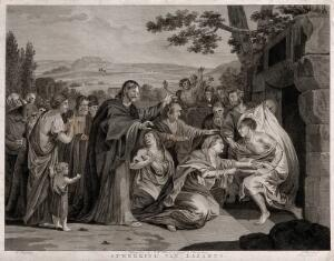 view Christ raises Lazarus from his tomb. Etching by C. Bogerts after H. Singleton.
