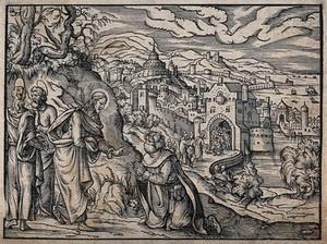view Christ healing a leper. Woodcut by an unidentified cutter, 1571, after Jost Amman.