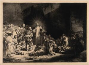 view Christ among sick people and Pharisees ('The hundred guilder print'). Etching by Rembrandt, 1649.