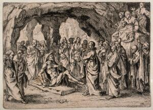 view Christ cures the paralytic, who rises from his pallet. Etching by school of J. Callot (?).