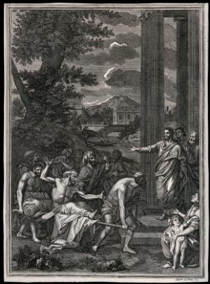 view The paralytic is brought on a stretcher to Christ. Engraving by Clark and Pine, ca. 1719.